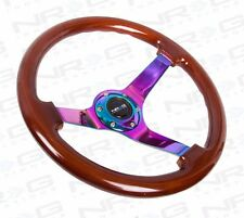 "NRG Steering Wheel Classic Wood Grain 350mm & Neochrome Spoke 3"" Deep Dish"