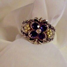 BARBARA BIXBY IOLITE FLOWER RING SIZE 8 18 KT ACCENT FLOWERS
