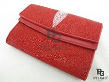 PELGIO Real Genuine Stingray Skin Leather Clutch Trifold Wallet Coin Purse Red