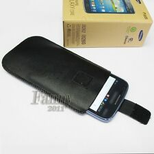 Black Pouch Sleeve Leather Case Skin for Samsung Galaxy Core,GT- i8260,i8262