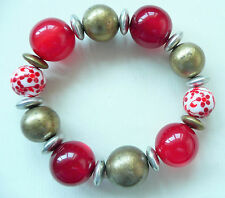 ACCESSORIZE GOLD BRACELET – LARGE RED CATSEYE BEADS, GOLD & SILVER BEADS - NEW