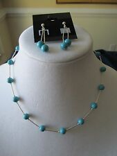 Sterling silver necklace and earrings with faux turquoise beads new