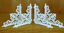 LOT OF 4 WHITE ANTIQUE-STYLE CAST IRON SHELF BRACKETS ARROW braces wall rustic