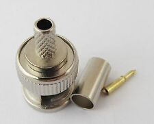 10Set Nickel Plated BNC Male Crimp RF Connector Plug for RG58 LMR195 RG142 Cable