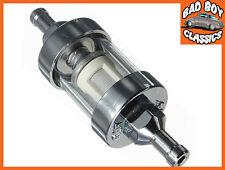 """Cromo & cristal Combustible Gasolina Inline Filtro de 1/4 """" / 6mm de combustible de una línea corta Tipo"""
