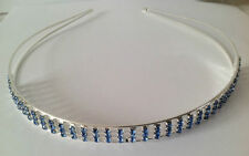 Blue crystal bridal alice band / tiaras