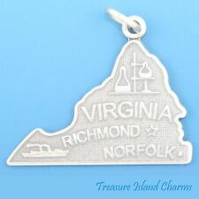 VIRGINIA STATE MAP RICHMOND NORFOLK .925 Solid Sterling Silver Charm