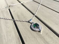925 sterling silver Emerald Green and White Topaz necklace pendant Eye Shaped.