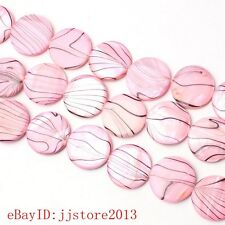 20mm Smooth Natural Pink Color Shell Coin Shape DIY Gems Loose Beads Strand 15""