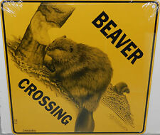 WOOD BADGE BEAVER WITH LOG CROSSING SIGN  WOODBADGE
