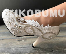 Gorgeous Crystal Gems bridal wedding heels flat bridesmaid pump shoes size 5-12