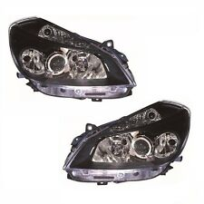 Renault Clio Mk3 Sport Models 10/2005-9/2009 Headlight Lamp Black Pair O/S & N/S
