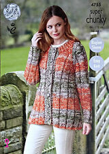 KNITTING PATTERN Ladies Easy Knit Long Sleeve Cardigan Super Chunky 4755