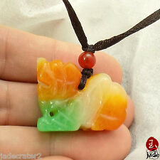 Chinese Yellow White Green Pixiu Dragon jade pendant necklace  US SELLER