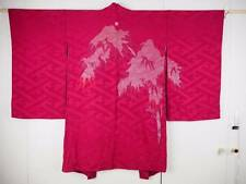 @@Antique/Japanese silk haori kimono/bamboo/lamé /lining, chicks/A3111