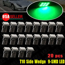 20PCS Green T10 W5W Wedge Side 9-SMD LED Bulbs Dome Map Cargo Light 192 168 2825