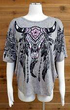 Vocal Top! Steer Head w/Feathers Design & Lots of Bling!! - Sz XL #15926S