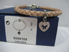 Swarovski Butterfly Heart Charm Set, Leather Crystal Authentic MIB - 5099109
