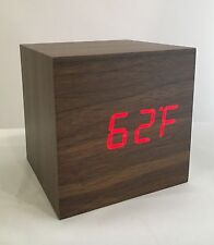 Box - The Wooden LED Clock - Brown with Red LED