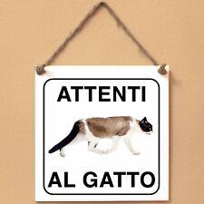 Snowshoe 4 Attenti al gatto Targa gatto cartello ceramic tiles