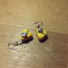 earrings Drops Mouse On Cheese Handmade Fimo Cute Valentines Gift