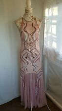 Vtg 1920,s style Downton Gatsby blush pink beaded flapper wedding dress sz 12/14