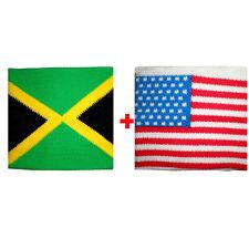 Coppia polsini Jamaica + Usa in spugna gruppi rock e bandiere