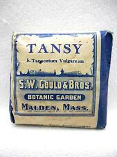 Antique TANSY Herbal Remedy Pack Unopened S W GOULD & BROS Malden MA. Circa 1906