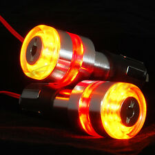 2X 7/8'' Motorcycle Handle Bar End LED Turn Signal Light Amber&Red Fit Yamaha FM