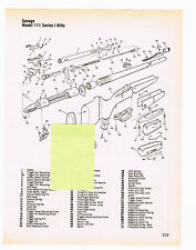 SAVAGE MODEL 111 SERIES J  RIFLE WITH EXPLODED VIEW AND PARTS LIST 1982 AD