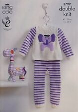 KNITTING PATTERN Baby Elephant Jumper & Striped Leggings DK KingCole 3799
