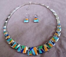 Navajo Multi-Stone Inlay & Sterling Necklace & Earrings by Rick Tolino JP00166