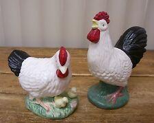 Chicks Chicken Hen Rooster 2 Figural Figurine Black White Ceramic
