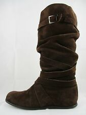 STUNNING WOMENS BROWN REAL LEATHER SUEDE CASUAL PIRATE FLAT WEDGE KNEE BOOT 8 41