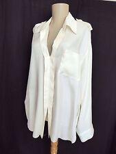 Blouse Lanvin Silk Ivory White Long Sleeve Epaulets Collar 38 M