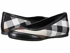 NEW $225 Burberry Girls Check Ballet Flat Black Dress Shoes Size EUR 28/US 10.5