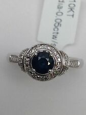 New 10K White Gold Natural Round Sapphire and Diamond Cluster Ring Size 7.25