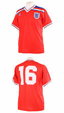 ENGLAND 1982 WORLD CUP ENGLAND ROBSON 16 RETRO RED AWAY FOOTBALL SHIRT S SMALL