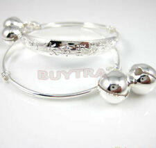 1 Pair Child Baby Bangle Bracelet Anklet hOT Sterling Silver Plated Jewelry