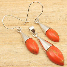 925 Silver Plated ORANGE COPPER TURQUOISE Earrings & Pendant Latest Fashion SET