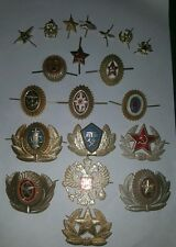 Set of 20 Soviet USSR Russian Red Army Military Hat Cap Beret Metal Pin Badges