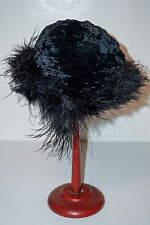CLEARANCE SALE Vintage 1930's 40's Black French Velvet Hat with Feather Trim