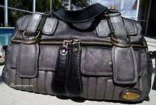 CHLOE ITALY ARGENT QUILTED METALLIC LARGE BAY SACTHEL BAG TOTE PURSE $1680.