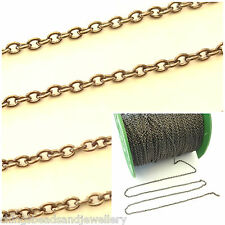 2M Plumbum Black 2x3mm Continuous Cable Chains For Jewellery Making