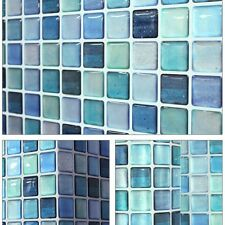"5.3""/13.4cm Beauty Anti Fungal Waterproof Wall Easy 3D Tile Sticker SAMPLE Blue"