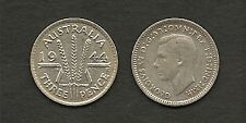 AUSTRALIA 1944 S  KING GEORGE VI SILVER THREEPENCE 3d COIN