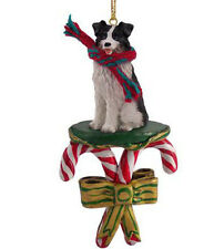 BORDER COLLIE DOG CANDY CANE CHRISTMAS ORNAMENT HOLIDAY XMAS