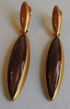 Estate Beautiful Amber Long Drop Dangle Pierced Earrings 3""