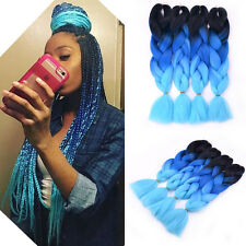 "5pcs 24"" Ombre Blue kanekalon jumbo Braids synthetic braiding Hair Extension"