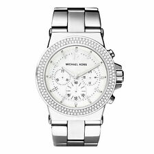 Michael Kors MK5385 Dylan Glitz Silver Chrono Watch 42MM BRAND NEW AUTHENTIC